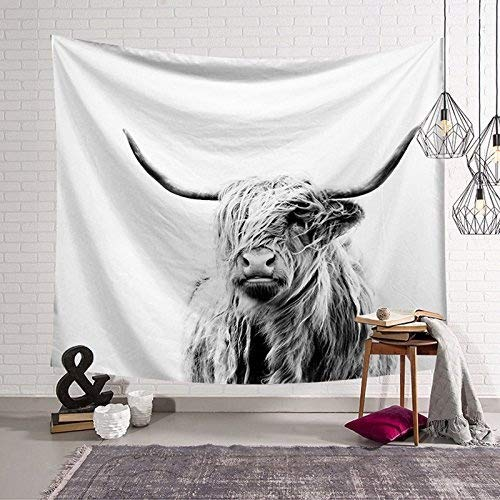 Tapestry Series Blanket (HYSENM Animal Series Tapestry Night Moon Wall Hanging Blanket Art Décor for Bedroom Dorm Living Room, Yak 59x51 Inches)