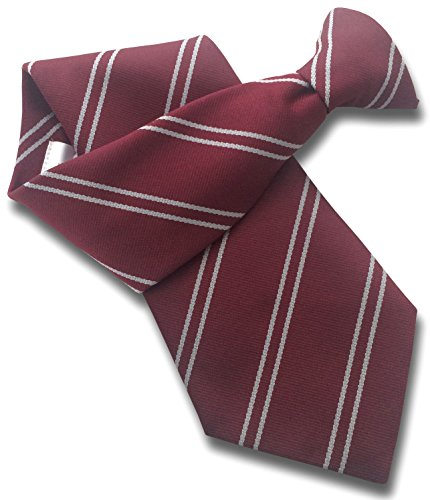 - Men's Clip On Tie - Maroon with Double Silver Stripes