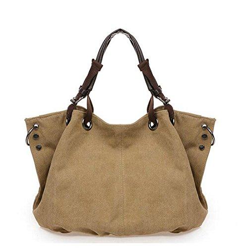 Unique Stylish High-capacity Zipper Canvas Casual Laptop Bag Shoulder Bag Travel Bag (Khaki) - 7