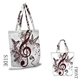 MusicCraft canvas shopping bagCute Floral Design with Treble Clef and Singing Flying Birds Sparrows ArtCan also be loaded with a laptop W15.75 x L17.71 Inch Chesnut Brown White