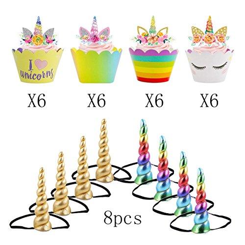 Children Shiny Unicorn Horn Glitter Elastic Headband Spiral Unicorn Horn Cosplay (LWX01)
