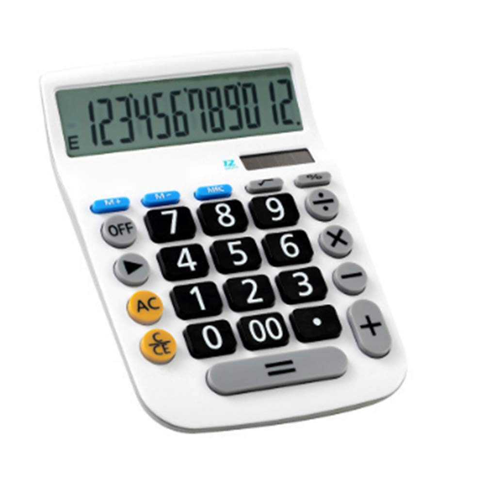 12-Digit Electronic Calculator with Large LCD Display, Auto Power Off Financial Calculators Standard Functional Desktop Calculator Solar & Battery Dual Powered