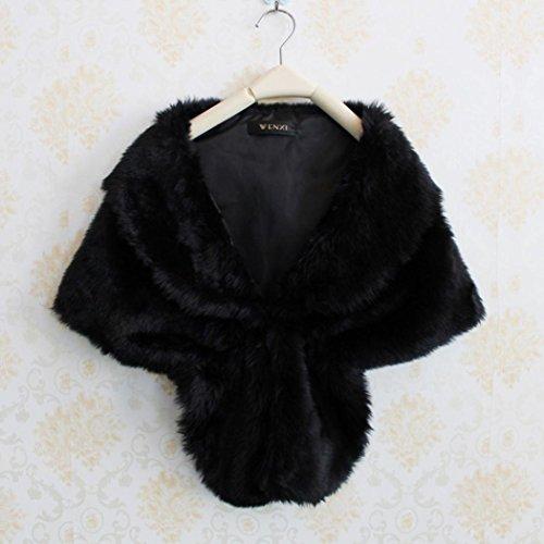 Femme Blanc Fourrure Noir Noir Bolero Chale xq80OUxv