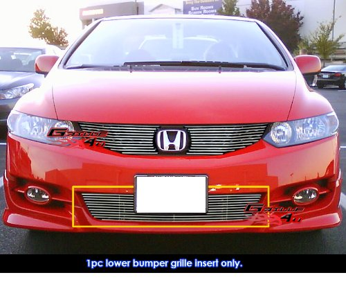 Billet Civic Honda Grilles - APS Compatible with 09-11 2011 Honda Civic Coupe Lower Bumper Billet Grille N19-A66766H