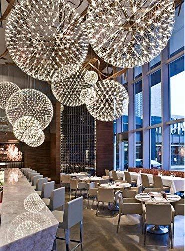 - BOSSLV Modern Minimalist Chandeliers,Stainless Steel Pendant,Creative Led Ball Lamps,Dining Hall Chandelier, Diameter 400Mm
