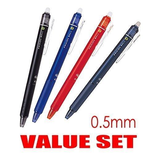 nock Click Retractable Erasable Gel Ink Pens,fine Point, - 0.5 Mm - Black,blue,red,blue Black Ink- Each 1 Pen- Value Set of 4 ()