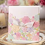 Romantic Laser Cut Flower Multicolor Wedding Invitation Cards With Ribbon For Wedding Decorations CW5031 (100)