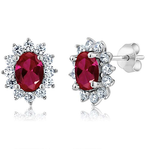 Gem Stone King 2.60 Ct 7X5MM Oval Red Created Ruby 925 Sterling Silver Women's Earrings