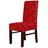 Super Fit Stretch Removable Washable Short Dining Chair Cover Protector Seat Slipcover for Hotel, Dining Room, Ceremony, etc (Red Black)