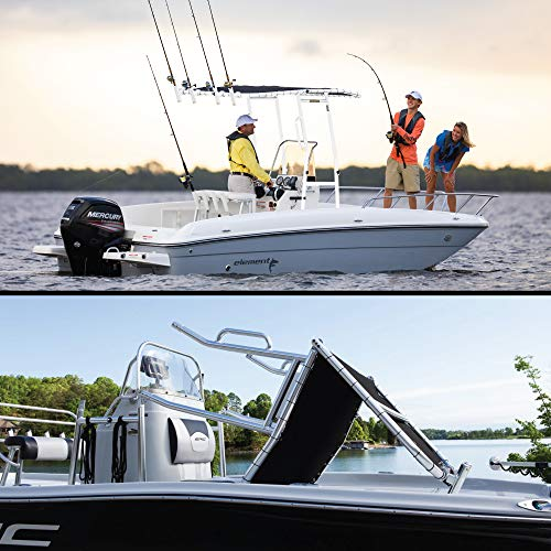 FISHMASTER MARINE TOWERS AND ACCESSORIES Boat T-Top for Center Console Fishing Boats - Universal Fit - White Powder Coat - Original with Grey Cover