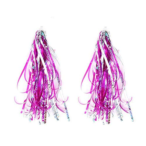 SYBL 1 Pair(2pcs) Kids Bicycle Bike Scooter Handlebar Streamers Bicycle Grips Sparkle Tassel Ribbon Trike Handgrip Ribbons Baby Carrier Accessories for Girls Boys Bike Deco Hot Pink