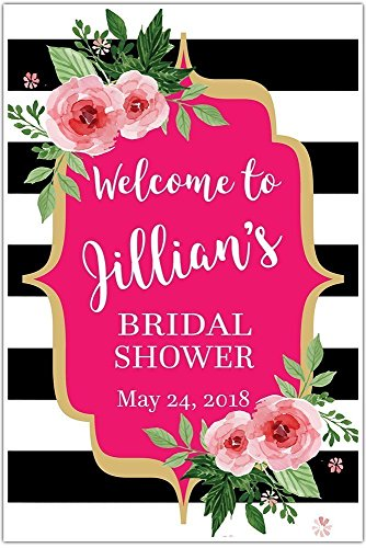 Black and White Striped Floral Welcome Sign for Bridal Shower - Personalized Poster