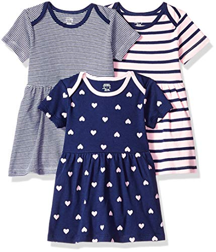 Amazon Essentials Baby 3-Pack Dress, Girl Heart, 12M