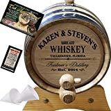 Kitchen & Housewares : Personalized American Oak Whiskey Aging Barrel (063) - Custom Engraved Barrel From Skeeter's Reserve Outlaw Gear - MADE BY American Oak Barrel - (Natural Oak, Black Hoops, 2 Liter)