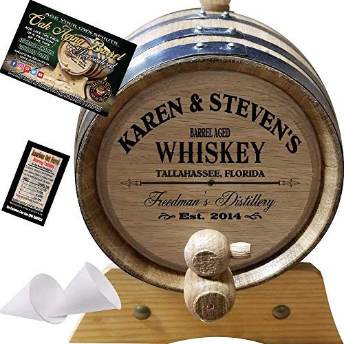 Personalized American Oak Whiskey Aging Barrel (063) – Custom Engraved Barrel From Skeeter's Reserve Outlaw Gear – MADE BY American Oak Barrel – (Natural Oak, Black Hoops, 2 Liter)