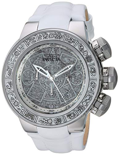 Men's Subaqua Stainless Steel Quartz Watch with Leather Strap, White, 30.5 (Model - Invicta 28242