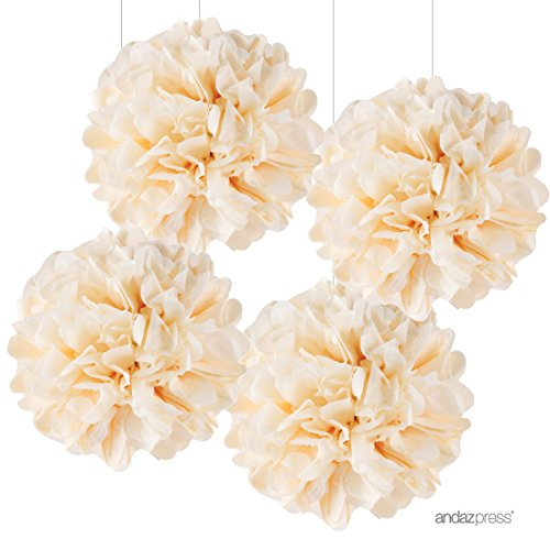 Wedding Tissue Paper - Andaz Press Large Tissue Paper Pom Poms Hanging Decorations, Ivory, 14-inch, 4-Pack, Wedding Bridal Shower Anniversary Decorations Colored Birthday Party Supplies