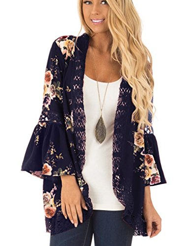 Floral Seasons Women Casual Chiffon Kimono Bell Sleeve Hollow Out Lace Short Cardigan Deep Blue XX-Large