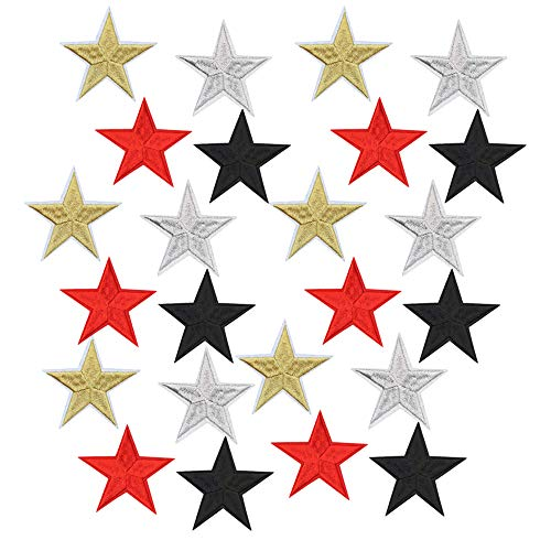 Star Iron On Patches Sew On Embroidered Badge Applique Patch with Star Motif Applique Stickers DIY for Bags, Shoes, Hats, Clothes(20 Pcs Mixed Color Stars) ()