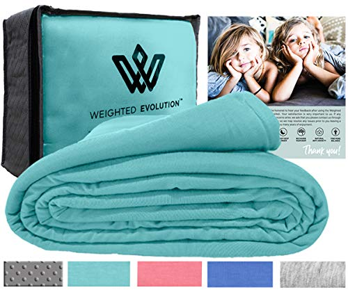 Cheap Weighted Evolution Premium Cooling Organic Bamboo Knit Weighted Blanket Duvet Cover with Cool Elastic Soft Fabric- Removable and Washable Duvet Cover Hypoallergenic Antibacterial (Turquoise 60x80) Black Friday & Cyber Monday 2019