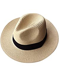 4040dac2 Summer Fedora Wide Brim Straw Hats Beach Sun Trilby Hat for Men Women