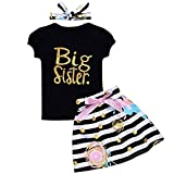Baby Girls Family Matching Clothing Set Little Big Sister Romper Shirt Tops+Gold Heart Long Pants Outfit Set (2-3T, Big Sister Black)
