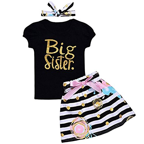 Big Baby Clothes (Arleysh Baby Girls Family Matching Clothing Set Little Big Sister Romper Shirt Tops+Gold Heart Long Pants Outfit Set (12-18 Months, Big Sister Black))