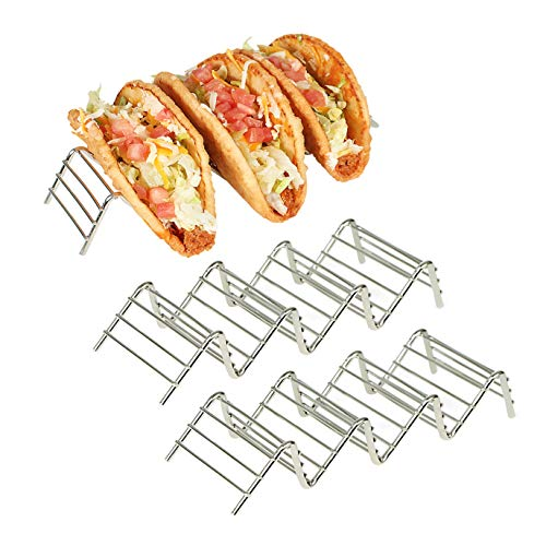 Stainless Taco Holder, 3-Pack Stainless Steel Taco Holder for Taco Tuesday, Mini Taco Holders Stainless Steel, Oven-safe Metal Taco Stand, Soft Taco Holder, Tortilla Holder, Fun & Unique Taco Rack ()