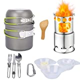 Cheap Qunlei Camping Cookware Mess Kit Camping Cooking Set with Wood Burning Camping Stove Non-Stick Anodized Aluminum Complete Lightweight Folding Kit for Camping Hiking & Backpacking Outdoor Cooking Green