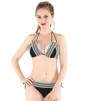SFHK Mujeres Conjuntos de Trajes de baño Tipo Split Cuello Halter Cuello Sujetador Nylon Comodidad Retro Playa natación Bikini, Black, 42: Amazon.es: ...