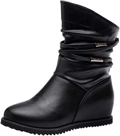 Women Ladies Short Ankle Snow Boot Low Chunky Heel Non-Slip Outdoor Winter Shoes