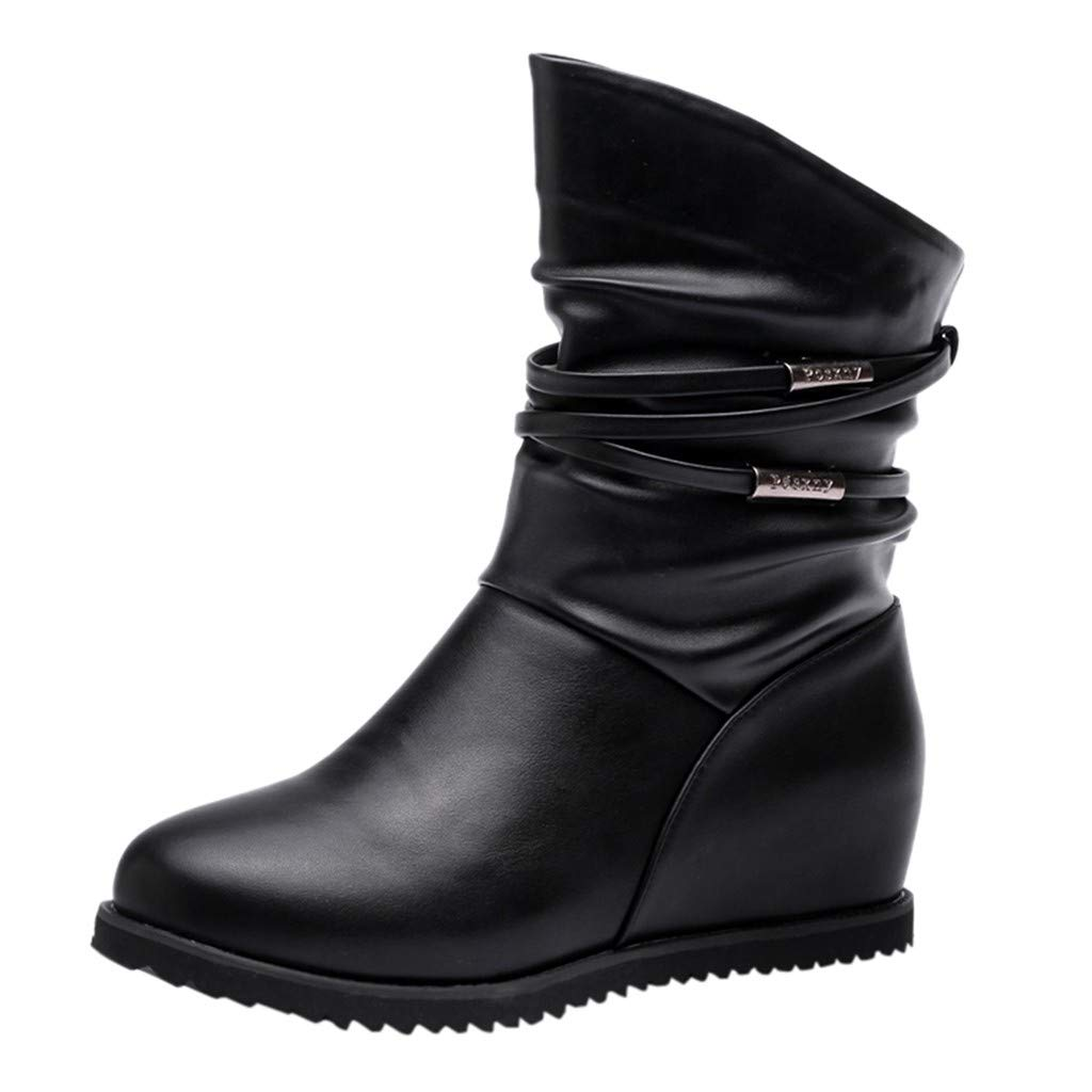 HAALIFE◕‿ Slouch Boots for Women Mid Calf Slouch Boots Winter Fashion Closed Toe Flat Biker Ankle Boots Black by HAALIFE Shoes