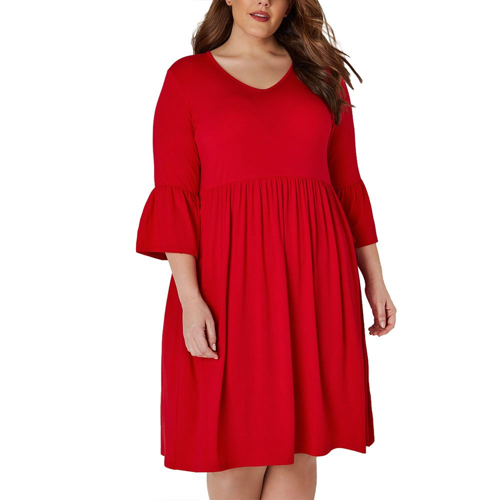 Ancapell Women's Plus Size Casual T-Shirt Midi Dress 3/4 Flare Sleeve Solid Knee Length Jersey Dress Women (Red, XXX-Large)