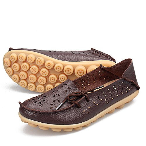 Slip Womens Shoes Casual Out Leather Brown Hollow Driving on KEESKY Loafers zqwZYdqp