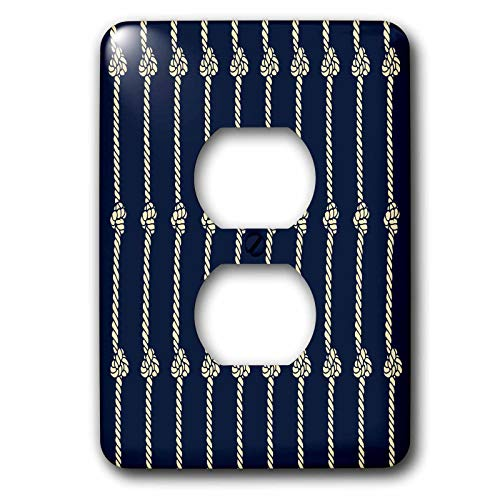 3dRose Russ Billington Nautical Designs - Knotted Rope Nautical Design in Blue and Ivory - Light Switch Covers - 2 plug outlet cover (lsp_291543_6)