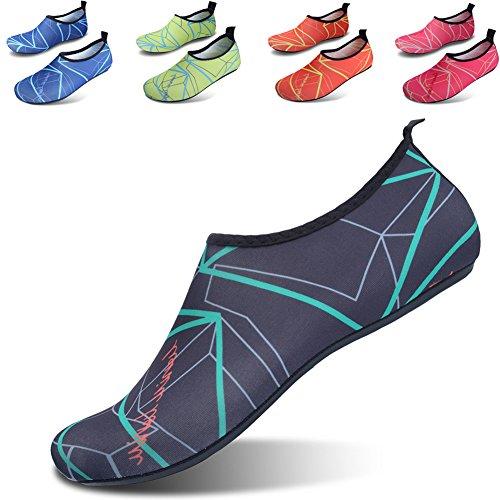 JIASUQI Frauen und Herren Classic Barfuß Wasser Sport Haut Schuhe Aqua Socken für Beach Swim Surf Yoga Übung Schwarz