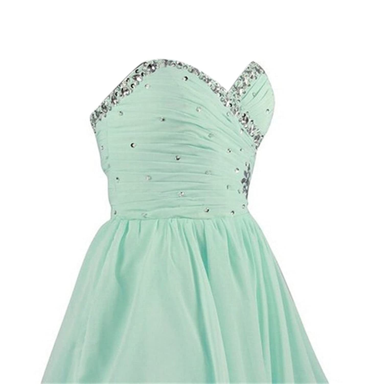 AngelDragon Mint Chiffon Rhinestones Formal Party Dress Short Prom Dress