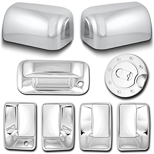 AutoModZone Chrome ABS 4 Door Handle Cover without PSG Keyhole + Tailgate Handle Cover with Keyhole + Top Half Mirror Cover + Gas Cover Combo for 08-10 Ford F-250