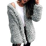 Hemlock Women Winter Warm Faux Fur Hooded Coat Cardigan Sweater Keep Warm Parka Outerwear