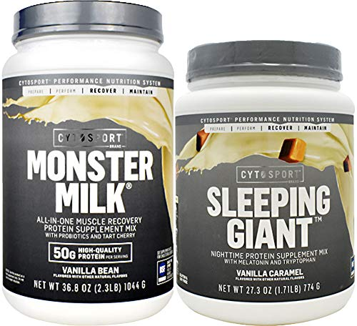 CYTOSPORT Monster Milk Protein & Sleeping Giant Combo All-in-One Muscle Recovery Protein & Nighttime Protein Supplement Mix with Melatonin and Tryptophan, Vanilla Caramel & Vanilla Bean ()