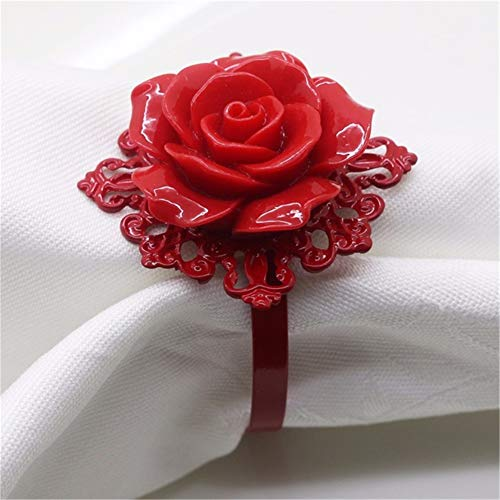 6pcs Red Rose Napkin Buckle Ring Decorative Serviette Holder for Wedding Party Dinner Table Decoration Accessories