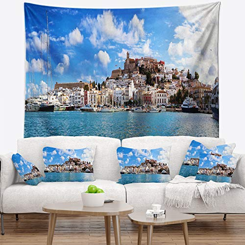 Designart TAP7225-60-50 'Panorama of Ibiza Spain' Cityscape Photo Tapestry Blanket Décor Wall Art for Home and Office, Large: 60 in. x 50 in. by Designart