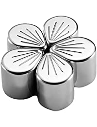 Buy 1990s Stainless Steel Cherry Blossoms Chilling Reusable Ice Cubes for Whiskey Wine Drinks(5Pcs/set) lowestprice