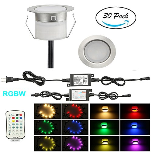 FVTLED Pack of 30 Low Voltage LED Deck Lighting Kit Stainless Steel Waterproof Outdoor Landscape Garden Yard Patio Step Decoration Lamp LED In-ground Light (30pcs, RGBW)