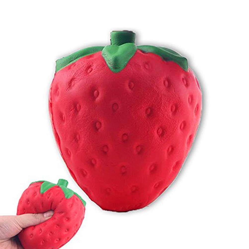DDG EDMMS 8 * 5cm décompression jouet fraise Squishy drôle, décompression, jouet squeeze de soulager l'anxiété - montée lente super - odeur de gâteau aux fraises agréable - surdimensionné - beaux cadeaux pour les enfants et les adultes