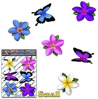 Adesivi per auto plumeria frangipani plumeria multicolore + animale farfalla - ST00041MC_SML - Adesivi JAS