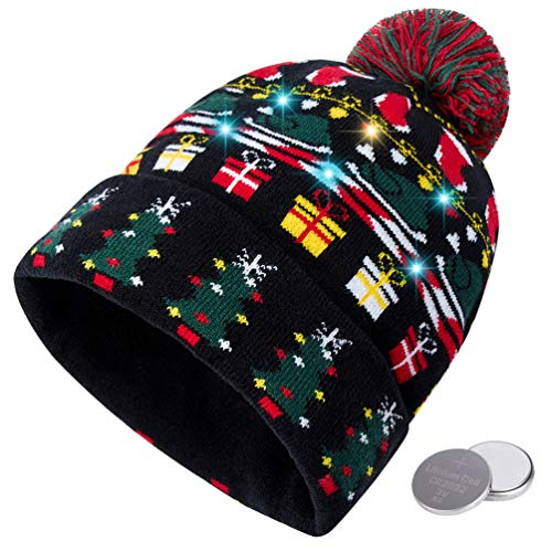 RAISEVERN Unisex Ugly LED Christmas Hat Light Up Holiday Cool Cute Christmas Trees Socks Turkey Knitted Pompom Cap Funny Sweater Beanie Hats for Family Festival Merry Xmas Party