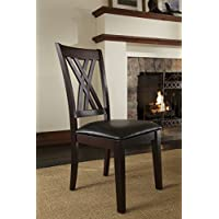A-America Montreal Double X Back Side Chair with Upholstered Seat - 2 Chairs, Rich Cognac