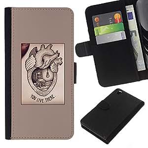 KLONGSHOP // Tirón de la caja Cartera de cuero con ranuras para tarjetas - medicamento para el corazón el amor de texto valentín - HTC DESIRE 816 //