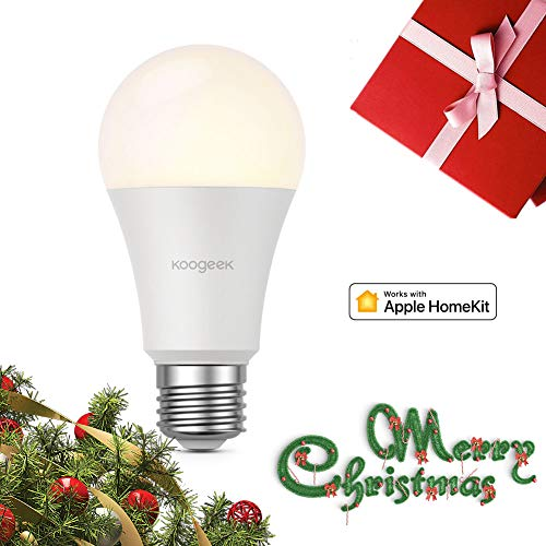Homekit Light Bulb, Koogeek E26 Dimmable Wi-Fi Smart Light Bulb 7W Work with Alexa, Apple HomeKit and Google Assistant, No Hub Required, Timer, Remote Control (560 LM Warm White Bulb)